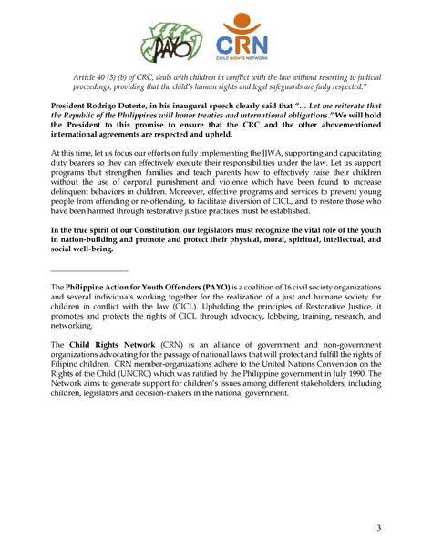 position paper   philippine action  youth offenders payo   child rights network