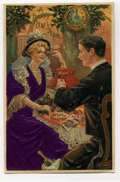 Happy New Year Postcard Champagne Toast Nye Vintage