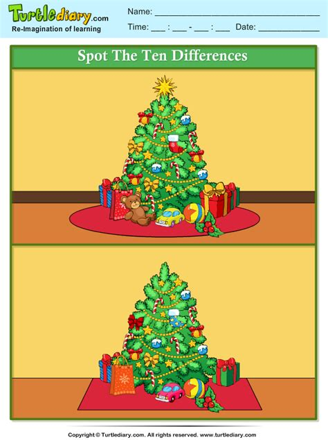 spot  difference christmas tree worksheet turtle diary