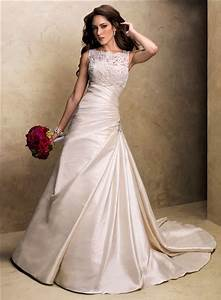a line strapless champagne colored satin wedding dress With champagne color wedding dress