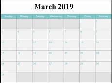 March 2019 Printable Calendar Calendar 2018