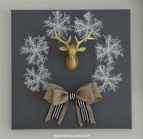winter holiday canvas wreath diy beauteeful living