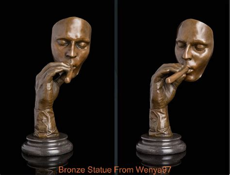 art deco sculpture man smoking cigar havana man