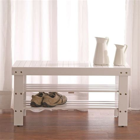 tiers wooden shoe bench rack  white finish
