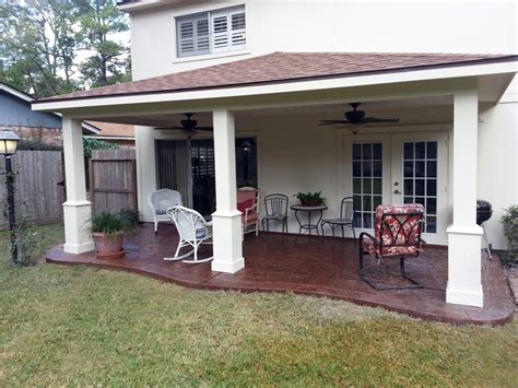 custom patio cover with decorative concrete affordable