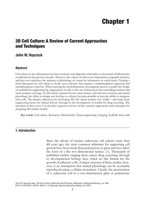 Pdf 3d Cell Culture A Review Of Current Approaches And