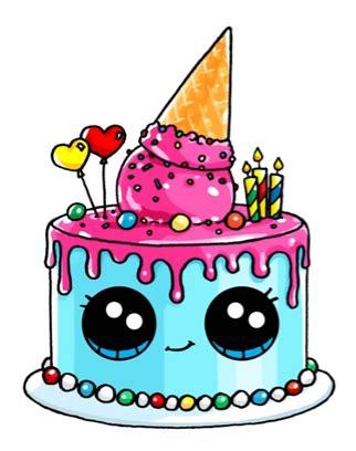 Birthday Cake  Artdrawings  Pinterest Kawaii