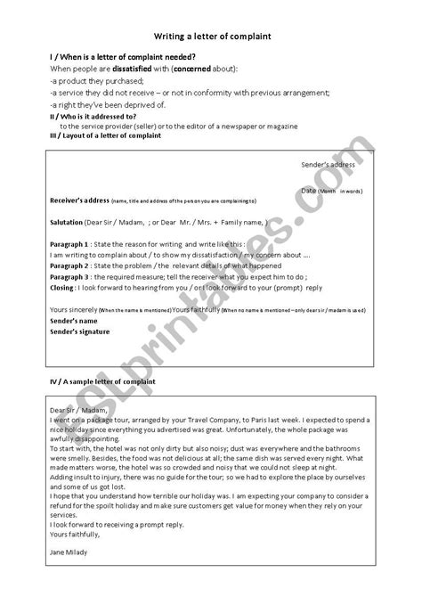 Writing a letter of complaint - ESL worksheet by kheria