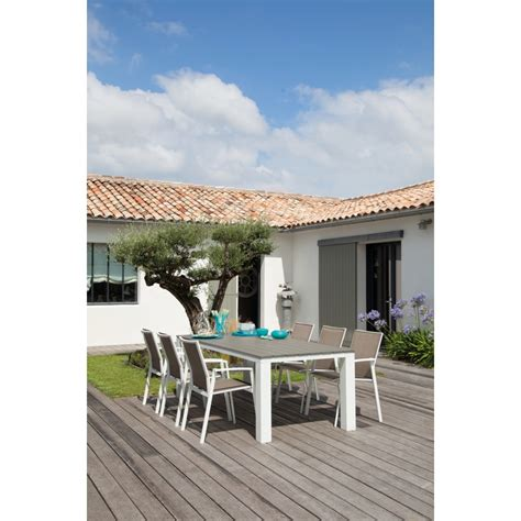horloges murales cuisine salon de jardin textilène elene palma 220cm 6 places blanc taupe loisirs et jardin deco