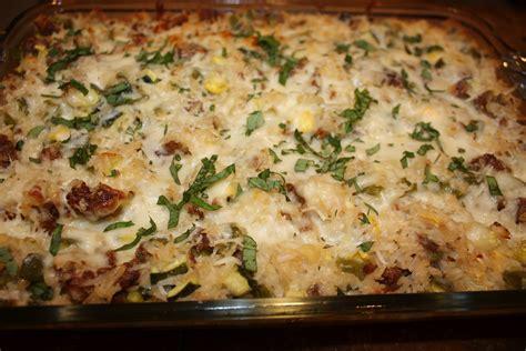 zucchini sausage casserole fleur de lolly zucchini rice and italian sausage casserole