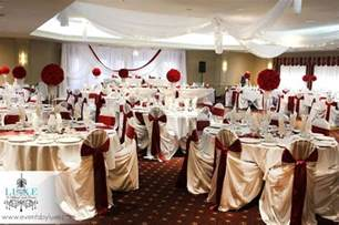 organza chair sashes burgundy and gold wedding table decorations photograph bur