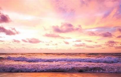 Sunset Sky Beach Summer Pink Sea Purple