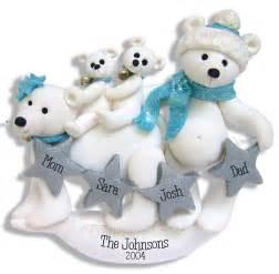 polar bear family family 4 handmade polymer clay personalized christmas ornament ebay
