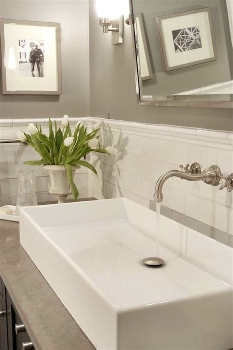 Subway Tile Bathroom Colors by Papyrus Home Design Chic Bathroom With Warm Gray Paint