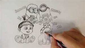 Drawing Minions Agnes And Unicorn From U0026quotdespicable Me