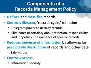 103 managing records in an e discovery world scce higher With documents management policy