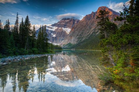 Nature Landscape Forest Mountain Lake Cavell Mount Edith