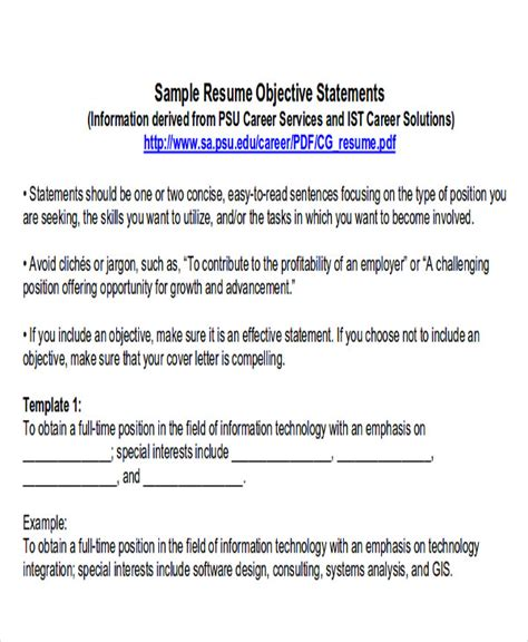 6+ Example Resume Objectives  Sample Templates