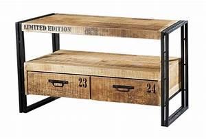 Meuble Tv Metal Bois : meuble tv m tal et bois factory 2 tiroirs mobilier ~ Teatrodelosmanantiales.com Idées de Décoration