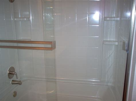 Fiberglass 4 piece combo tub/shower with Brushed Nickel