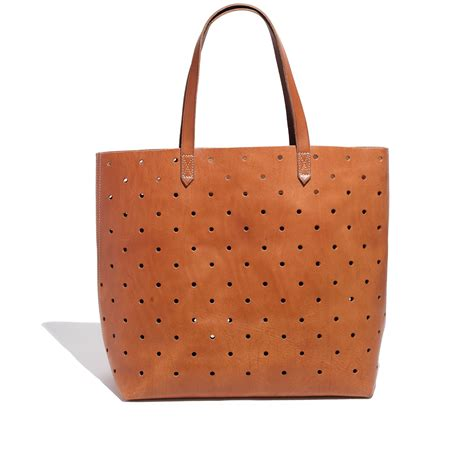 madewell  holepunch transport tote  brown burnished