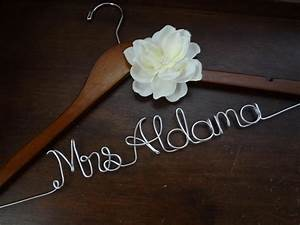 personalized wedding dress hanger with ivory fabric flower With personalized wedding dress hanger