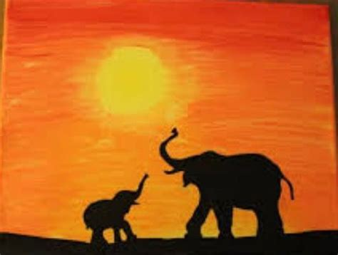 elephant silhouette sunset painting pin by maddie on crafts paintings canvases