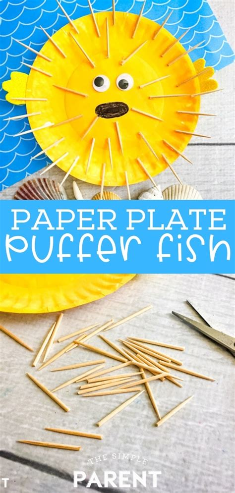 paper plate fish craft blows  puffer fish