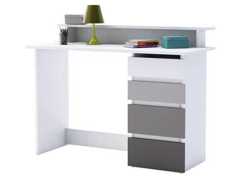 bureau maths coloris blanc et gris conforama