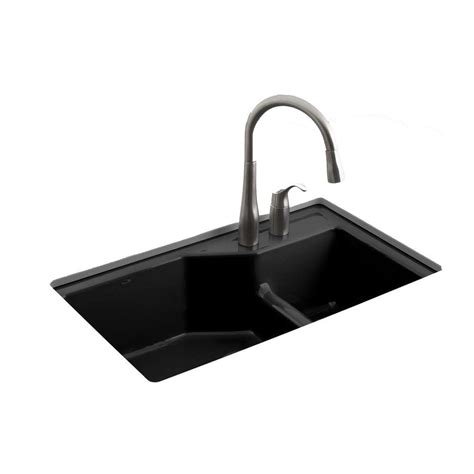 kohler indio smart divide undermount cast iron 33 in 1