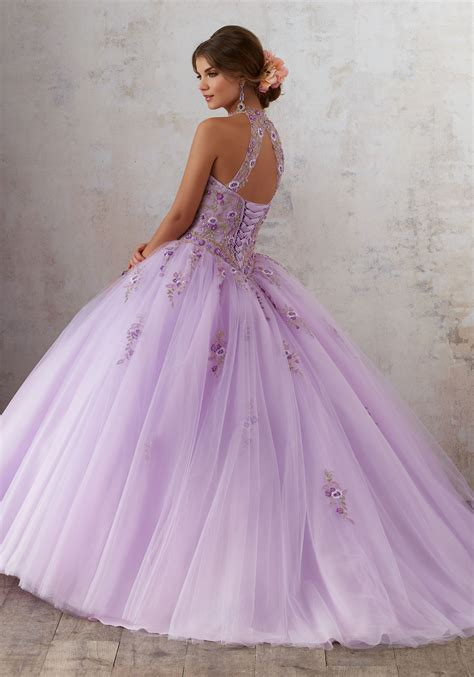 quinceanera dresses light purple embroidery and beading on a tulle ballgown style 89134