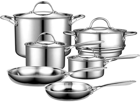 cooks stainless steel clad ply standard multi cookware pots pans cooking wares cook kitchen aluminum saucepans ss skillet sets core