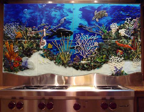 custom glass tile mural underwater seascape  kitchen