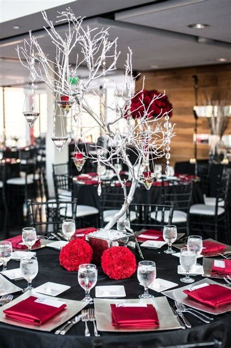 picture   black  red wedding tablescape  silver