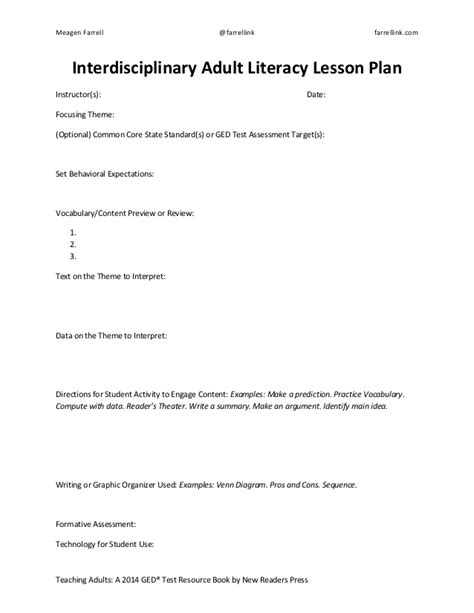 tspeech test template 2014 ged test lesson plan template sle education pays