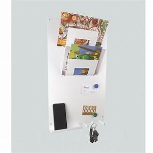 3 in 1 magnetic memo board letter rack and key holder white With letter holder and magnetic key rack