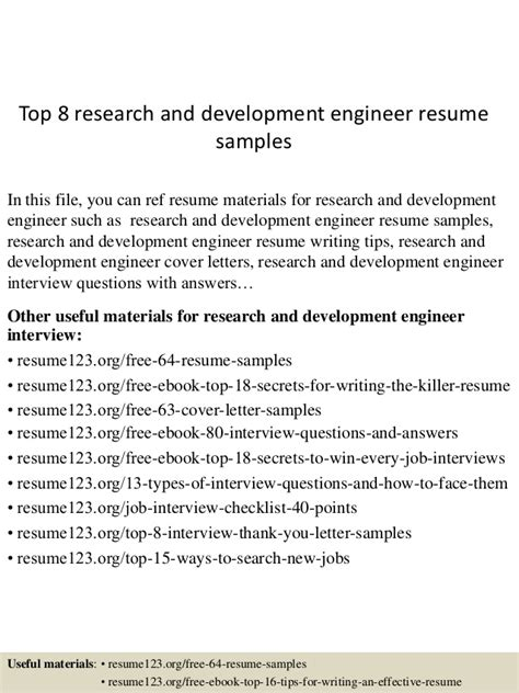 Research Engineer Resume Pdf by Top 8 Research And Development Engineer Resume Sles