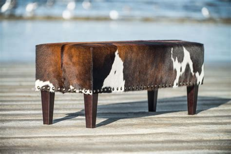 Cowhide Ottoman Nz by Gorgeous Brown And White Cowhide Bench Ottoman By Gorgeous