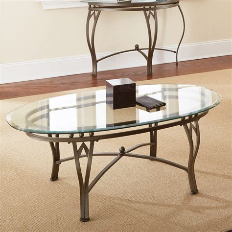 Steve Silver Madrid Oval Glass Top Coffee Table Coffee