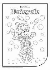 Juggler Colouring Unicycle Activity Ichild sketch template