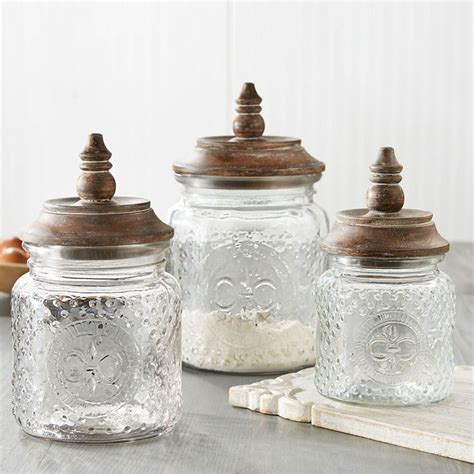 fleur de lis kitchen canisters fleur de lis clear glass kitchen canister set