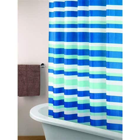 wilko shower curtain blue white and aqua stripe at wilko