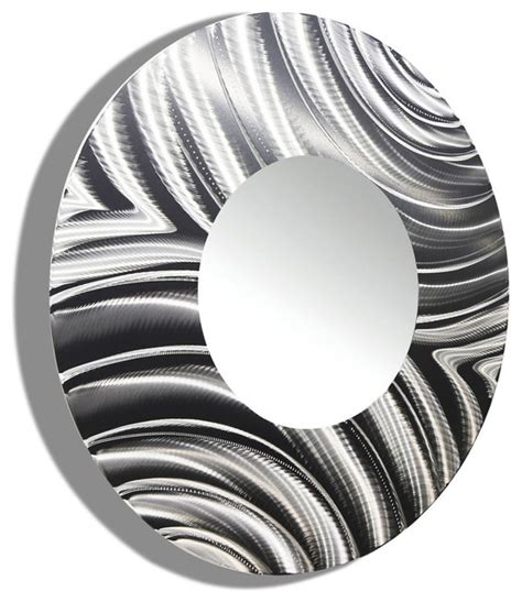 large  silver modern metal mirror contemporary
