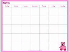 Printable Blank Calendar 2018