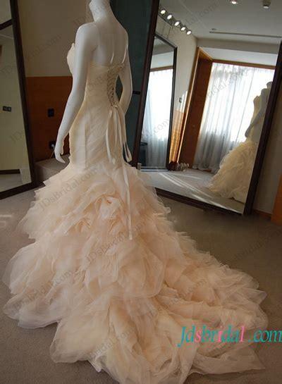 inspired designer blush ruffled mermaid wedding dress