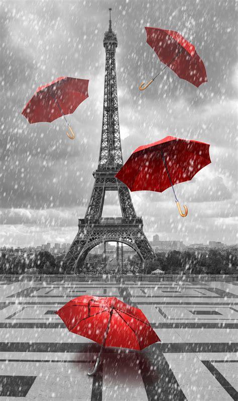 Tour Eiffel Avec Des Parapluies Volants  Decomurale Inc