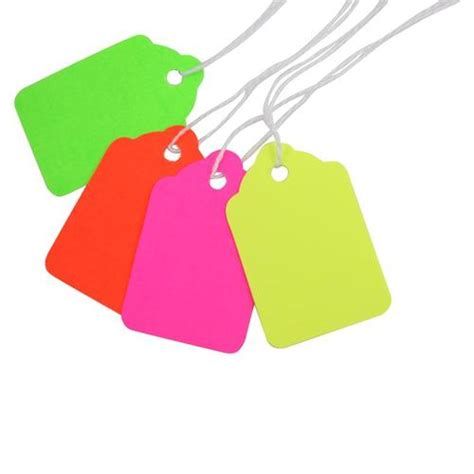 colored tags 100 bright quot day glo quot neon colored string tags for marking