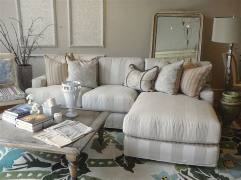 striped slipcovered chaise sectional style