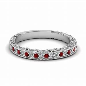 Milgrain hand engraved diamond wedding band with ruby in for Ruby wedding band rings