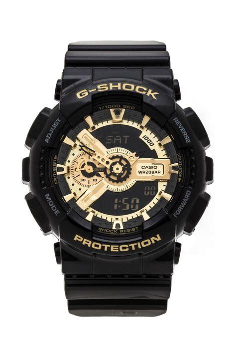 G Shock Ga 110 Gold Series g shock ga 110 in black black gold lyst